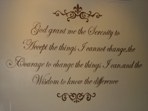 Hand Painted Serenity Prayer Murals with Scroll Designs