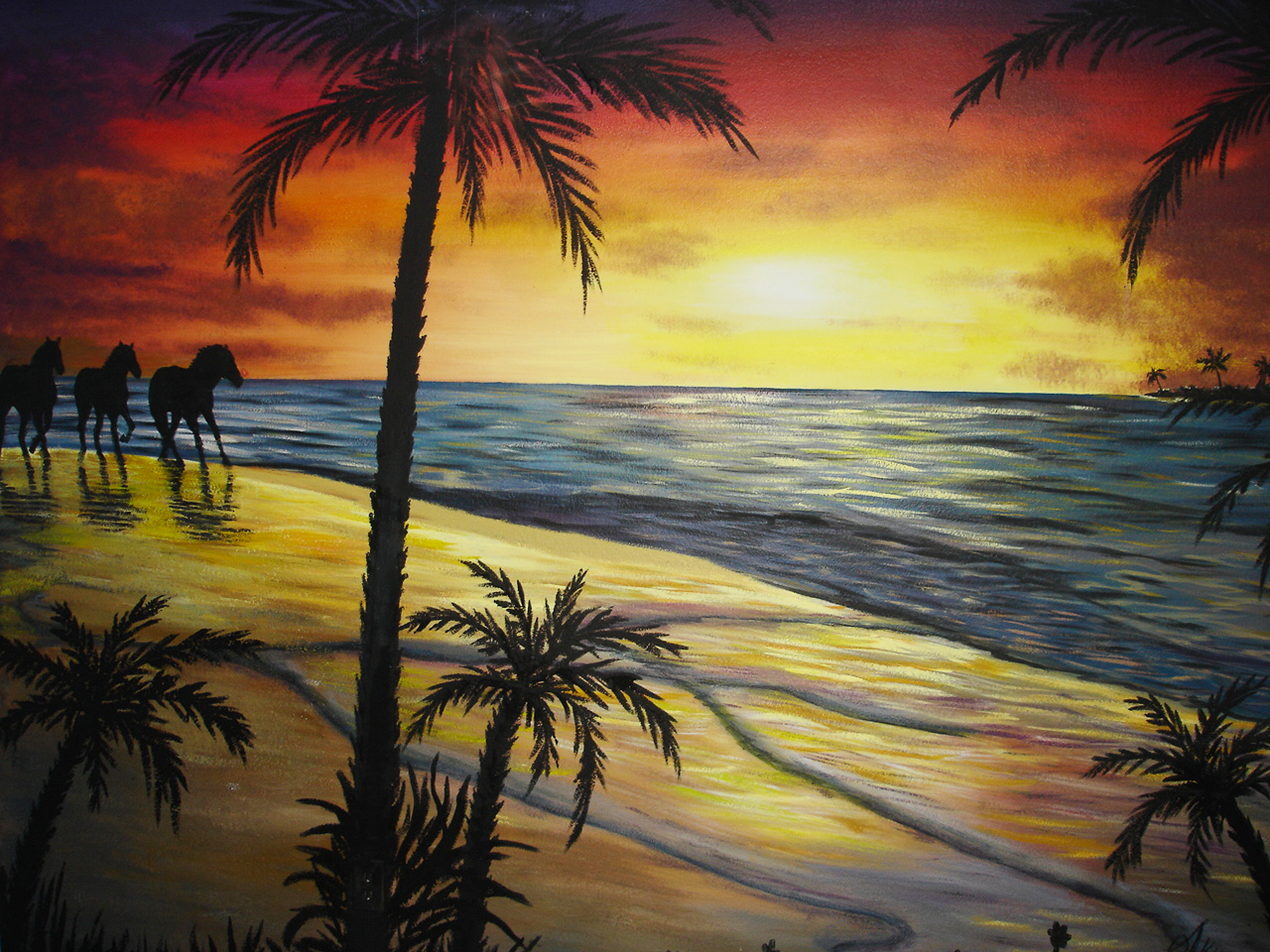 Sunset Beach Scenes Paintings