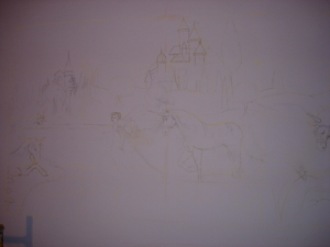 Fairy, Unicorn sketch on wall for mural