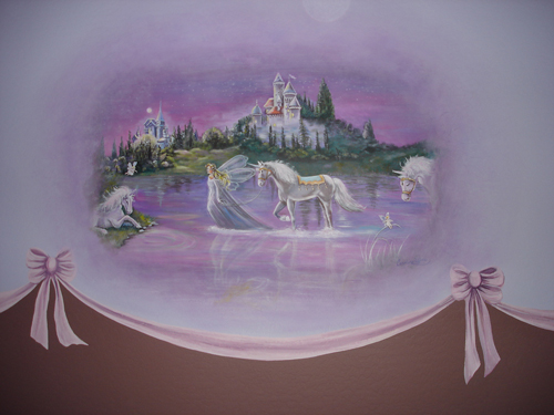 Baby room murals murals faux phoenix for Fairy castle mural