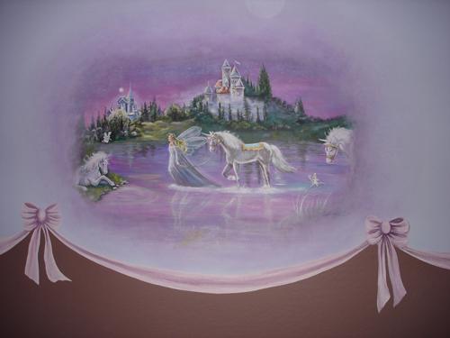 Fairytale baby room mural murals faux phoenix for Fairy castle mural